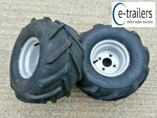 PAIR 18x9.50-8 4ply KENDA K357 TRAILER ATV CHEVRON LUG TYRES ON 100pcd RIM